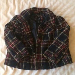 Gap Kids Girls Plaid Outer Pea coat Sz 4/5
